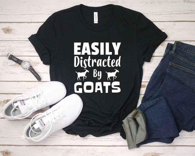 ea28e3d0 Funny Goat T-Shirts Gift Easily Distracted By Goats Funny | Etsy