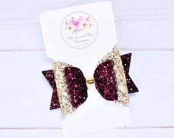Glitter hair bow Burgundy gold bow Baby headband bows Glitter headband Baby burgundy dress Birthday hair bow Holiday hair bow Glitter hair