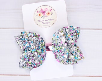 toddler hair bow 1st birthday bow Pink and white glitter bow birthday bow glitter bow hair clip small hair bow pink hair clip