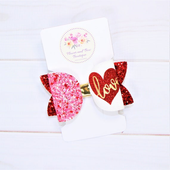 Valentines bow Glitter hair bow Baby girl Valentine headband Toddler Valentines outfit First Valentines day Valentines hair bow Valentine