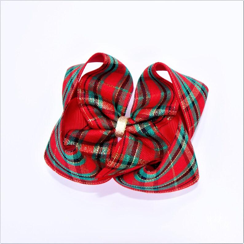 Tartan Ribbon Bows with Gold Thread