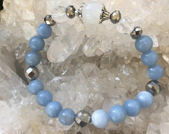 Peace & Tranquility ~ moonstone and angelite stretch bracelet