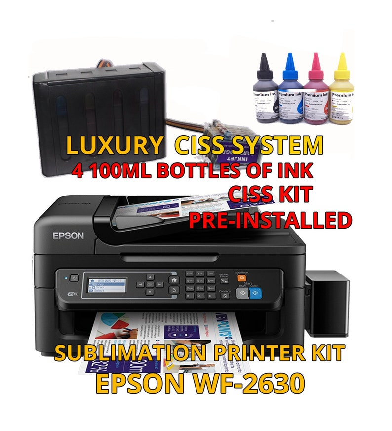Epson WF-2750 Sublimation Printer Bundle with CISS Kit, Sublimation Ink