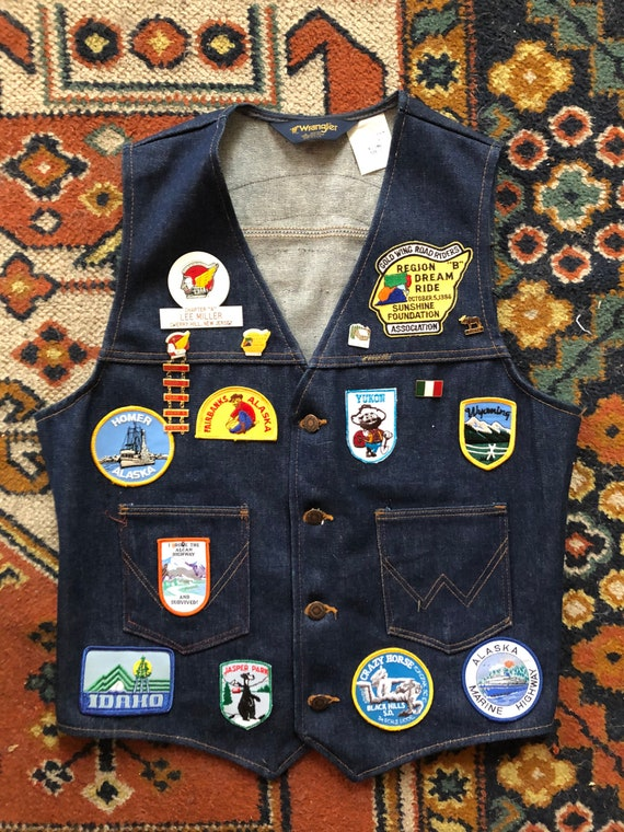 70s Wrangler Denim Biker Vest With patches