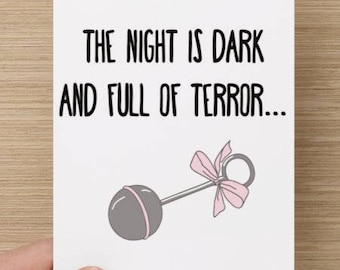 FUNNY CARD / new baby / new parents / Game of thrones /  Baby shower / pink or blue