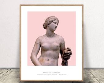 Aphrodite Print, Portrait of Aphrodite, Greek Mythology, Aphrodite Statue Print, Aphrodite Bust Art Print, Modern Home Decor, Pink Aphrodite