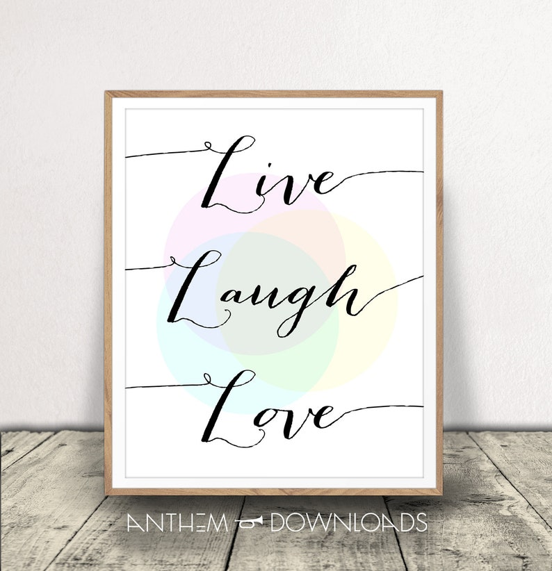 Live Laugh Love Art Print Printable Artwork Quote Live Love Etsy