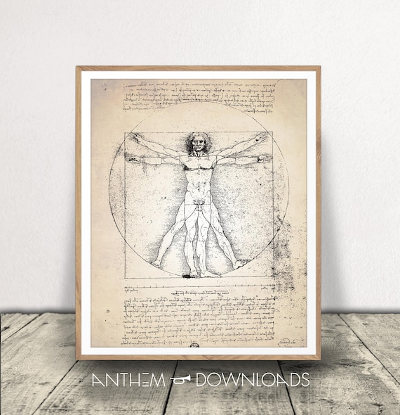 Vitruvian Man Da Vinci Print Human Anatomy DOWNLOAD | Etsy