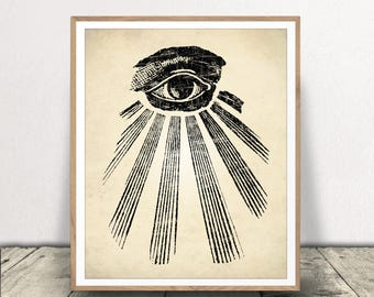 All Seeing Eye Print, Occult Art, Occult Printable, All Seeing Eye Download, All Seeing Eye, All Seeing Eye Poster, Illuminati Art Print
