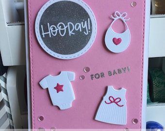 Pink and Silver Baby Girl Greeting Card