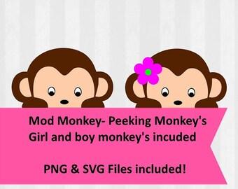 5ea0b2813 Mod Monkey Clip art, Mod Monkey SVG, Peeking monkey,monkey decorations,mod  monkey baby shower,svg and png files,silhouette cameo, svg files