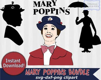 Mary Poppins svg, Mary Poppins Clipart, digital download, dxf files, svg files, svg files for silhouette, svg files for cricut, vector art