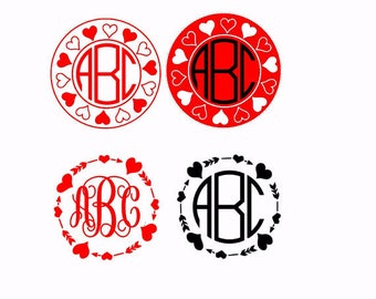 Heart Circle Frame SVG Files, Round monogram frame svg,circle arrow frame svg,svg files for silhouette cameo,cricut explore, valentine