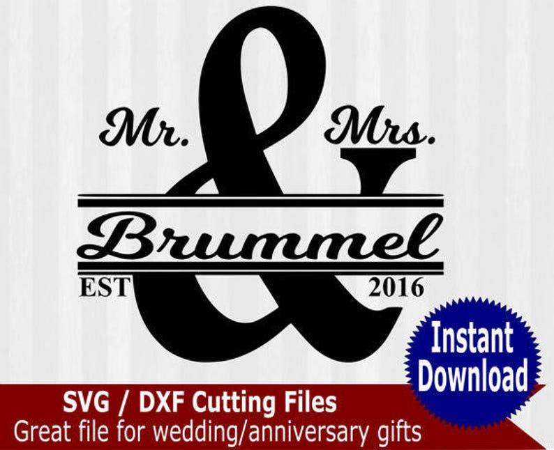 Mr and Mrs svg cutting file, Split monogram frame, wedding svg, anniversary  svg, cameo files, svg files for cricut, dxf, sign making, gift
