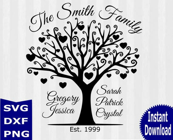 tree silhouette svg tree svg cutting templates commercial etsy rh etsy com family tree vector art free download family tree vector eps