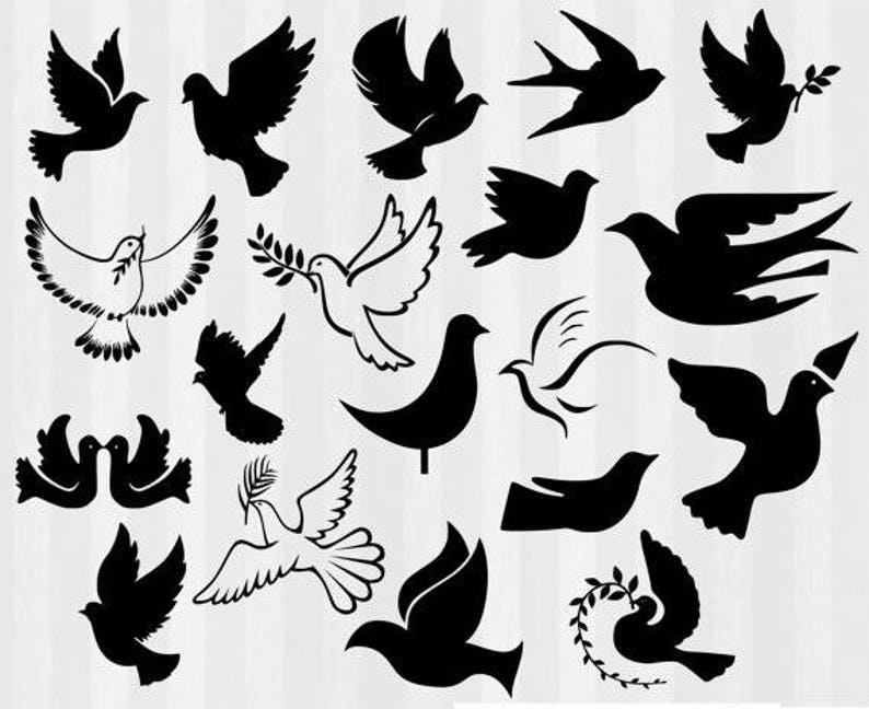 Doves Silhouette Clip art, Doves SVG, Dove Silhouette, Dove decorations,  svg and png files, silhouette cameo, Dove svg files, svg bundle,dxf