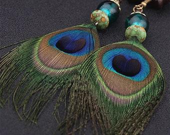 Peacock earrings, Hand Beaded, Dangle Earrings
