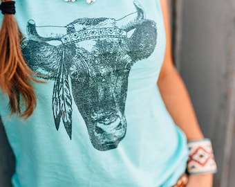 Women's Vintage Clothing, Casual Flowing Tank Top, Western Wear, Country Girl Shirts