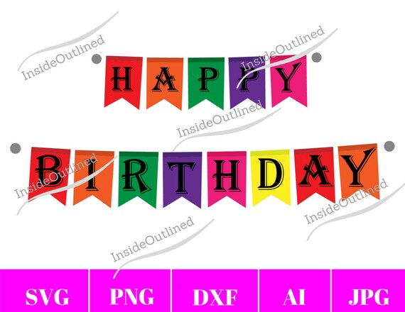 Happy Birthday Svg Birthday Svg Birthday Banner Party Svg Etsy