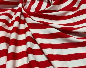 Red /& White Vertical Horizontol Stripes Thick Stripe Print 4 Way Spandex Fabric