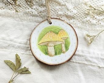Mushroom Wood Slice Ornament - Hand Painted Ornament