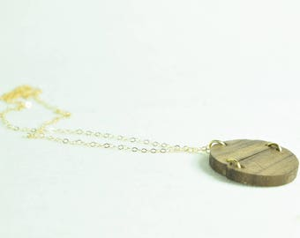 Wood and Gold Plated Sterling Silver Pendant