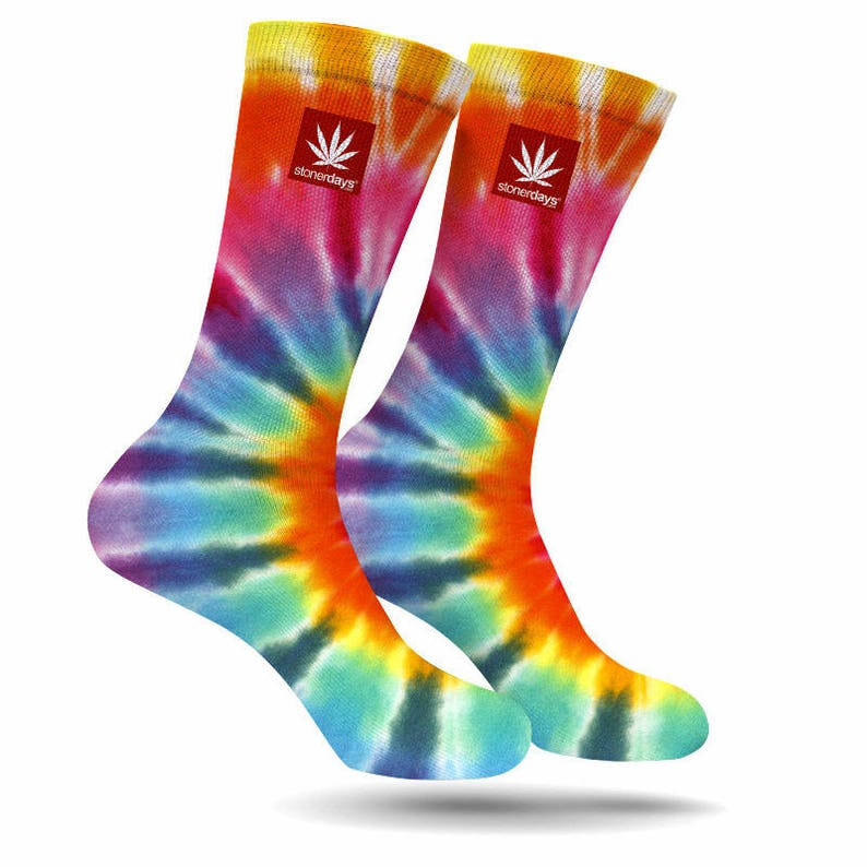 4f609f81db8 Tie Dye Weed chaussettes. Tie Dye Cannabis chaussettes. Tie