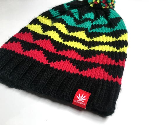 Rasta Beanie. Rasta Knit Beanie. Beanie. Marijuana Beanie.  90c69eb90817