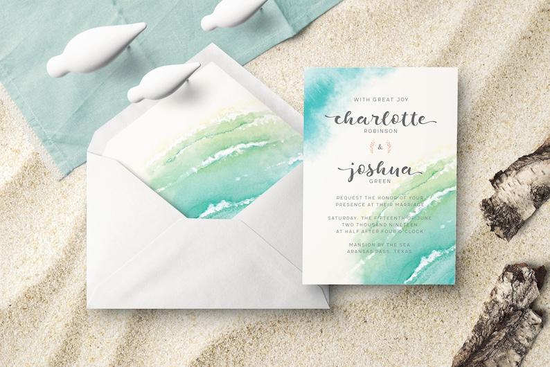 Beach Wedding Invitation Beach Themed Printable Wedding Etsy