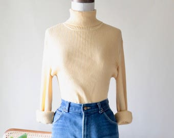 Vintage Chicos XL Lightweight Knit Turtle Neck Sweater, Light Yellow 90s Top