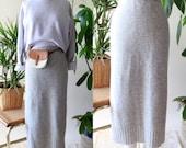 Vintage Mohair and Rabbit Hair Gray Midi Pencil Skirt, Sweater Skirt, LARGE, Long Fuzzy Skirt
