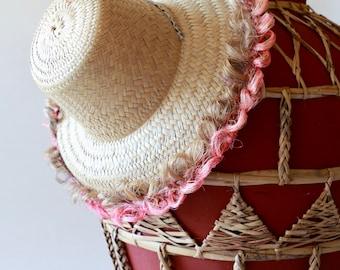 1b8b5bad361fed Woven Sun Hat, Mexico Straw Hat, Pink, Gardening Hat, Vintage
