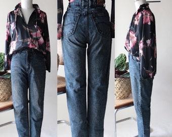Vintage LEE High Waisted Mom Jeans, Dark Blue Black Denim, 80s