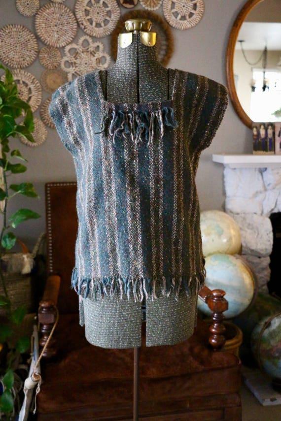 Vintage Hand Woven Forest Green Fringe Ethnic Slee