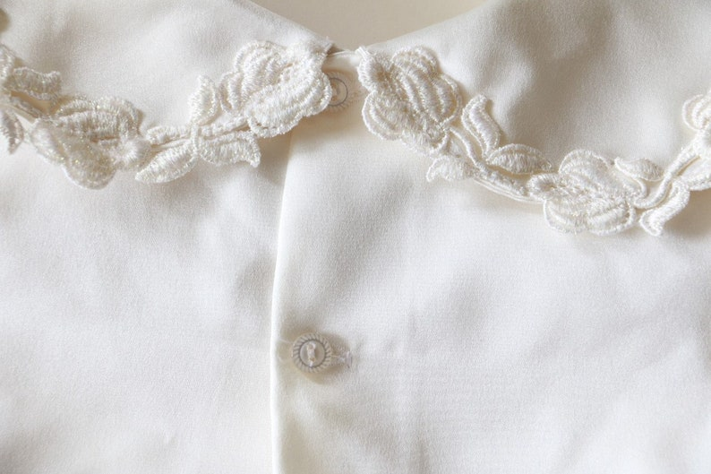 Button Down Shirt Little Girl Long Sleeve Top Baby Girl White Puff Sleeve Blouse Vintage