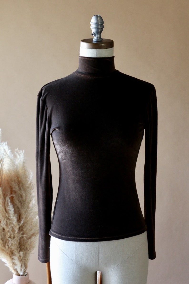 2ca9ed06cd Small Brown Velvet Mock Neck Top Women s Long Sleeve