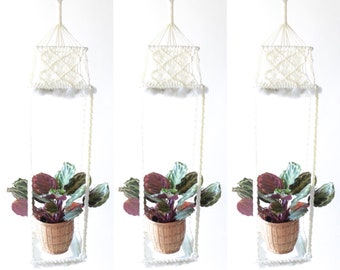 "LARGE 4'8"" Vintage Macrame Hanging Planter with Glass Base"