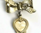Vintage MFG Gold Bow Dangle Heart Brooch Etched Cross Mother of Pearl Heart Charm Flower Love Religious Pin Romans 8 28 Christmas Jewelry