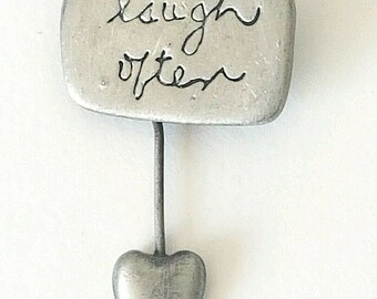 Handcrafted For Silvestri  Brooch  Laugh Often Dangling Heart Pewter Brooch Pin Dangle Heart Brooch Vintage Brooch Pin