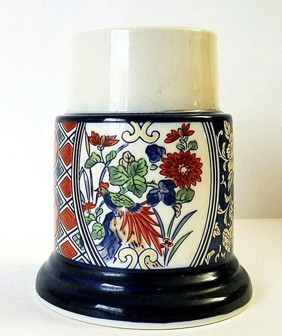 Vintage Andrea by Sadek Japan Porcelain Trinket Box Candle Chelsea Bird Flowers Collectible Candle Holder A Home Decor Approx.3.25 D x 2 H