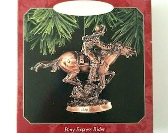 1998 Pony Express Rider The Old West Hallmark Keepsake Bronze Tone Metal Christmas Ornament  Vintage Collectible Ornament