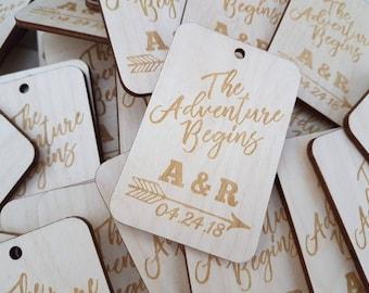 The Adventure Begins Wood Tags | Rustic Wedding | Wedding Favour Tags | Custom Engraved Wood Tags