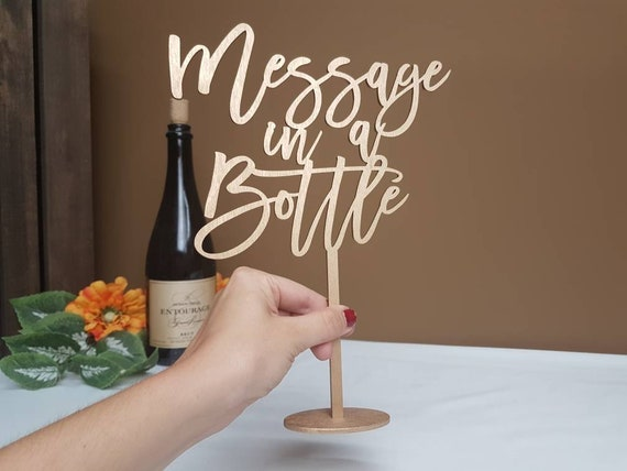 Message In A Bottle Sign Wedding Wood Signs Personalized Etsy