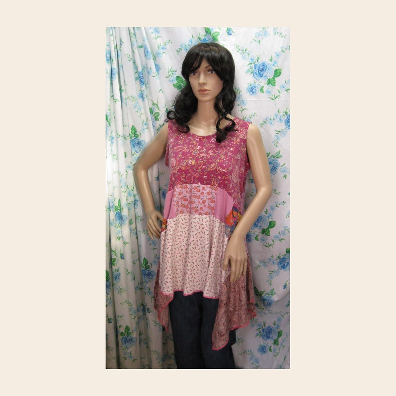 Pink Cotton Knit Tunic Junk Gypsy Style Altered Couture Top Q2370 Up-cycled Eco Friendly Shabby Chic Country Bohemian up to 40 Bust L