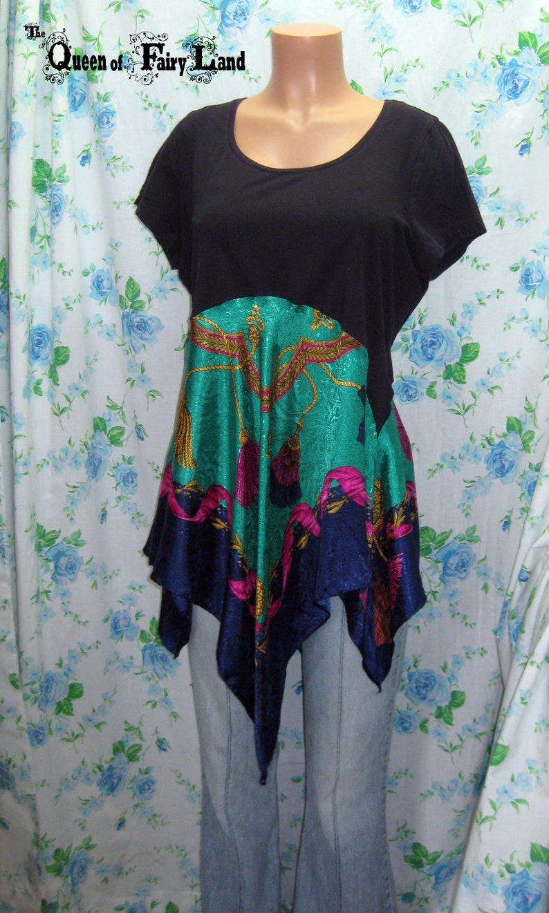 Eclectic Tunic Upcycled up to 42 Bust,XL Dark Navy Tunic with Liz Claiborne Scarf skirt Q2364 Junk Gypsy Style Altered Couture Tunic