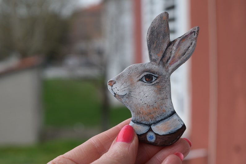 Pin rabbit white wonderland bunny funny animal decor accessories rabbit art pin paper clay on of a kind