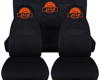 Jeep Wrangler YJ Complete Seat Cover Set Solid Black With Logo