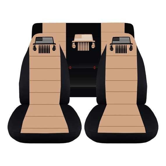 Jeep Wrangler Seat Covers >> Jeep Wrangler Tj Complete Seat Cover Set Black Tan Center With Logo