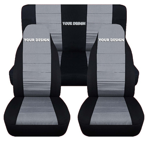Jeep Wrangler Seat Covers >> Fit 97 02 Jeep Wrangler Tj Complete Seat Cover Set Made By Designcovers In Black Silver Centered With Customizable Logo