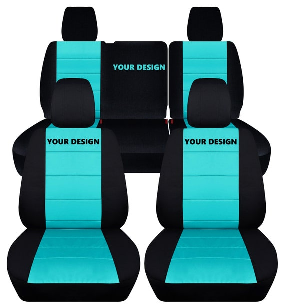 Cool Fit 2007 Jeep Wrangler Jk Complete Seat Cover Set Made By Designcovers In Black And Mint Blue Insert With A Customizable Logo Gamerscity Chair Design For Home Gamerscityorg
